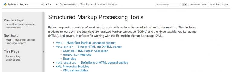 圖示:Python官方網站操作教學(取自Python官網https://docs.python.org/3/library/markup.html)