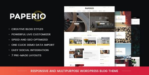 【WordPress 付費主題免費下載】Paperio – Responsive and Multipurpose WordPress Blog Theme