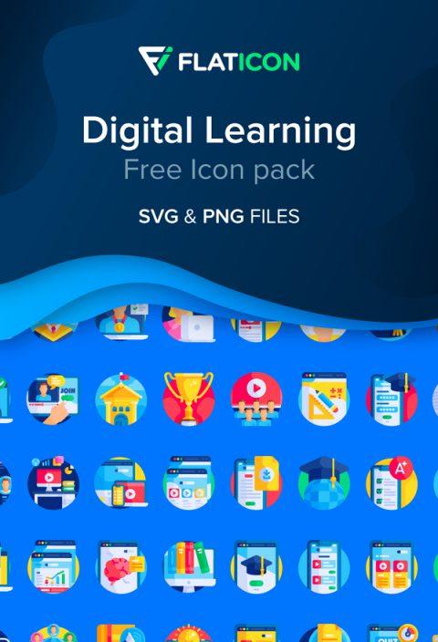 在家工作和數碼學習(Digital Learning)免費圖標 icon 下載