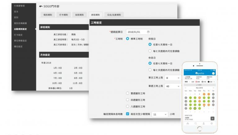 多樣打卡方式(臉部辨識打卡、GPS 定位、QRcode 打卡)以及行動自主排班