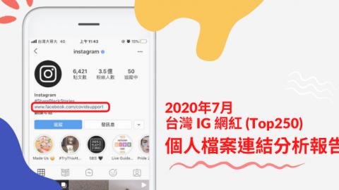 2020年7月台灣IG網紅(Top250)「個人檔案連結」分析報告