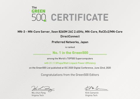 Supermicro與Preferred Networks(PFN)合作開發全球最節能超級電腦,榮登Green500排行榜第一名